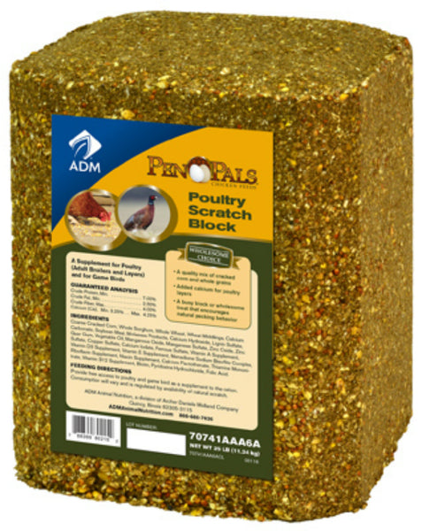 ADM Alliance Nutrition™ 70741AAA6A Pen Pals® Poultry Scratch Block, 25 Lb