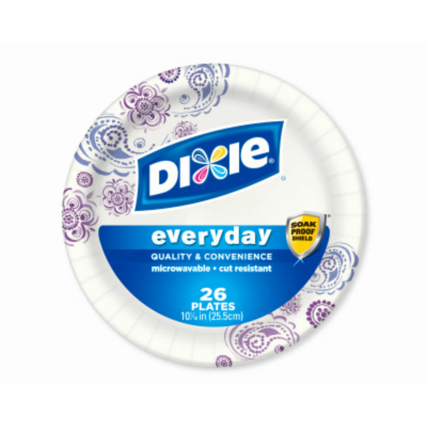 "Dixie 15132 Everyday Disposable Paper Plates, Assorted, 10-1/16"", 26-Count"