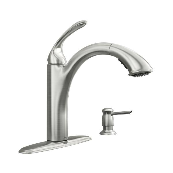 Moen® 87035SRS Kinzel 1-Handle Low Arc Pullout Faucet, Spot Resist® Stainless