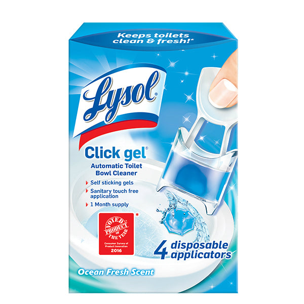 Lysol® 1920092918 Click Gel™ Automatic Toilet Bowl Cleaner, Ocean Fresh, 4-Count