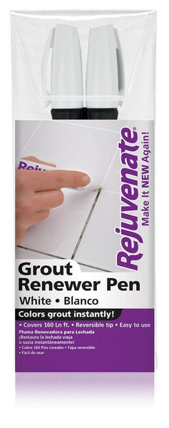 Rejuvenate® RJ2GMW Grout Renewer Pens, White, 2-Count