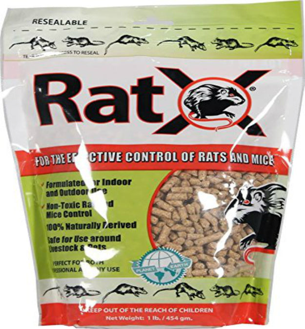 RatX RX-01 Non-Toxic Rat & Mice Killer # 620101, Indoor/Outdoor Use, 1 Lb