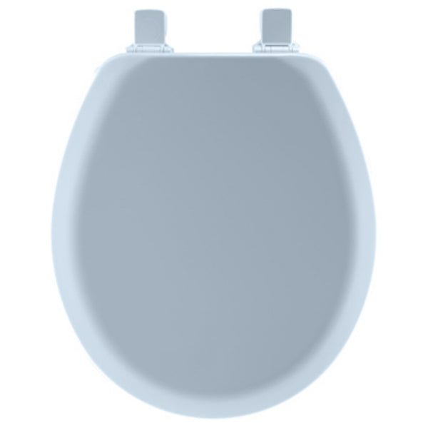 Mayfair 41EC-034 Round Molded Wood Toilet Seat w/ Easy-Clean Hinges, Sky Blue