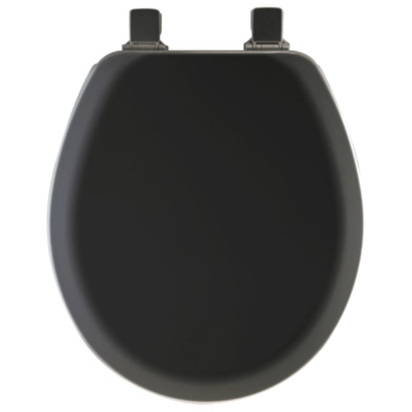 Mayfair 41EC-047 Round Molded Wood Toilet Seat w/ Easy-Clean Hinges, Black