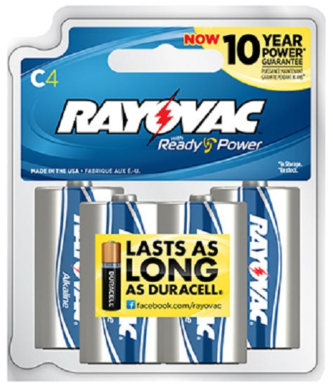 Rayovac® 814-4TJ Ready Power Alkaline C Batteries, 4-Pack