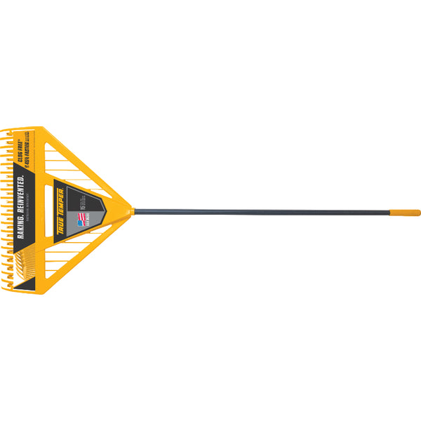 "True Temper® 2704000 Dual Tine Poly Leaf Rake w/ 60"" Rubber-Coated Handle"