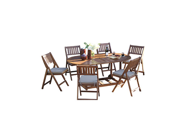 Outdoor Interiors S10555 Original Fold & Store Oval Table Set, 7-Piece