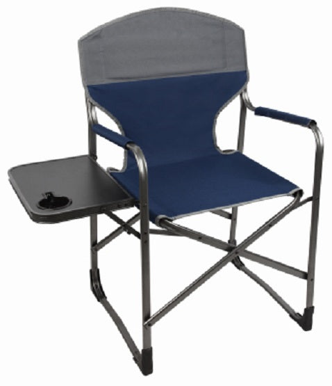 Four Seasons Courtyard FC-065L Heavy Duty Folding Directors Chair, Blue & Gray