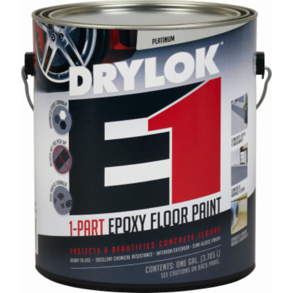 Drylok® 23813 Epoxy E-1 1-Part Semi-Gloss Floor Paint, Platinum, 1 Gallon