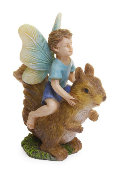 Marshall MG213 Woodland Knoll Miniature Statuary Fairy Boy Riding Squirrel, 3""