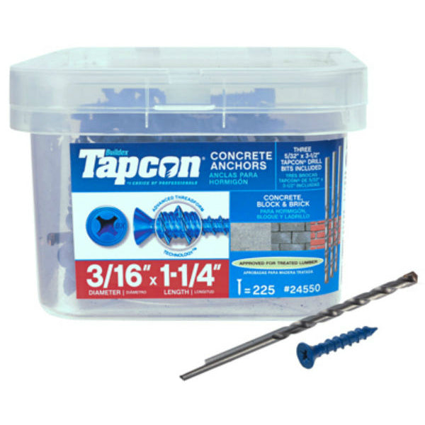 "Tapcon® 24550 Blue Climaseal® Flat Head Concrete Anchors, 3/16"" x 1-1/4"", 225 Pk"