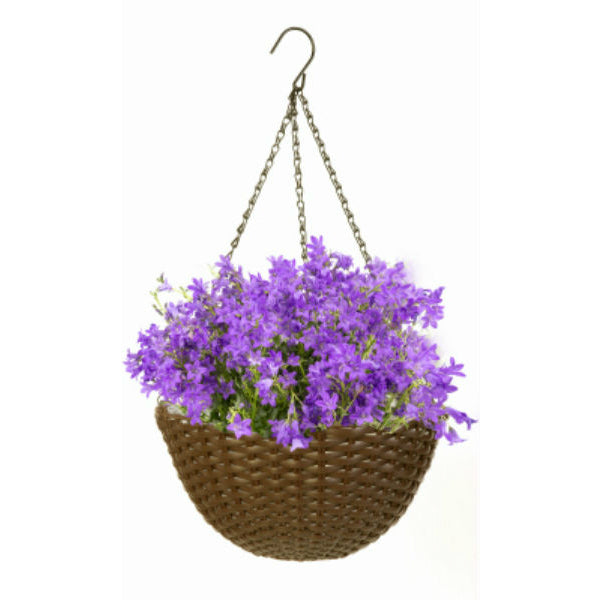 "Panacea 82303 Resin Wicker Round Hanging Basket, 14"" Diameter, Brown"