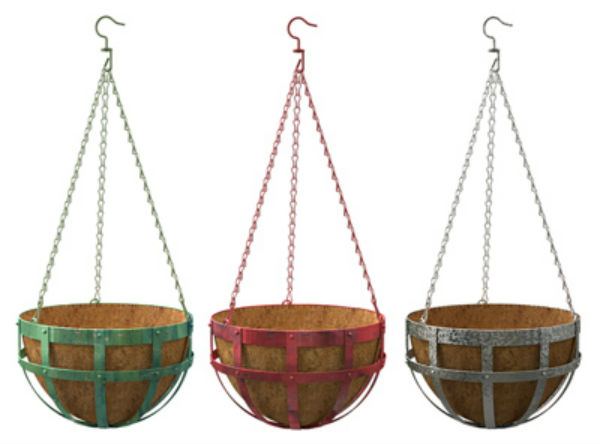 "Panacea™ 84215 Industrial Flatband Round Hanging Basket, Assorted Colors, 14"" Dia"