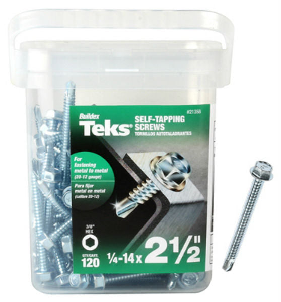 "Teks® 21358 Hex Washer Head Metal-To-Metal Self-Tapping Screw, #14 x 2-1/2"", 120-Pk"