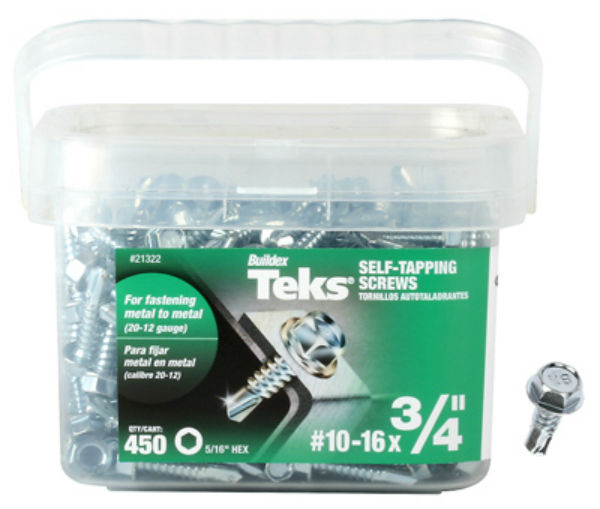 "Teks® 21322 Hex Washer Head Metal-To-Metal Self-Tapping Screw, #10-15 x 3/4"", 450-Pk"