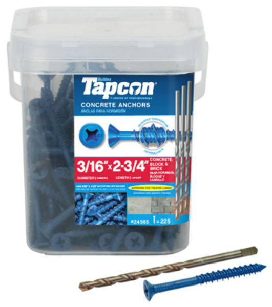 "Tapcon® 24565 Blue Climaseal® Flat Head Concrete Anchors, 3/16"" x 2-3/4"", 225 Pk"