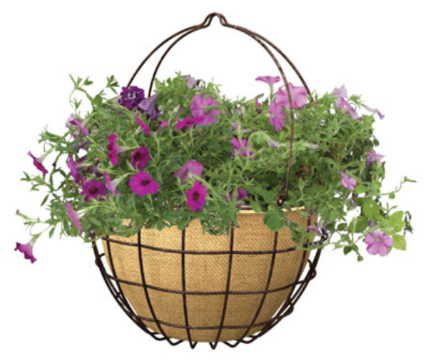 "Panacea™ 83595 Hanging Basket with Burlap Liner, Rust, 14"" Wide"