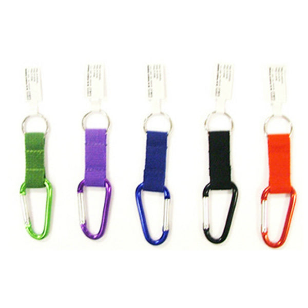 Hy-Ko KBO502 Small Carabineer with Nylon Strap Key Rings, Assorted Colors