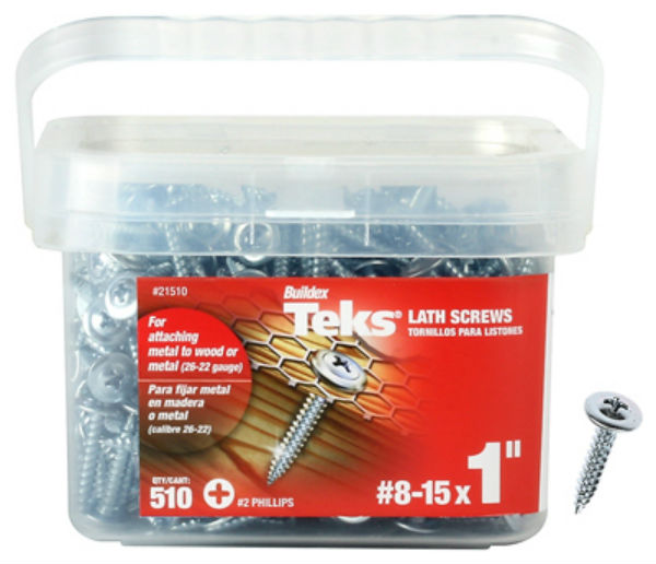 "Teks® 21510 No Pre-Drilling Lath Point Screws, #8-15 x 1"", #2 Phillips, 510 Pack"