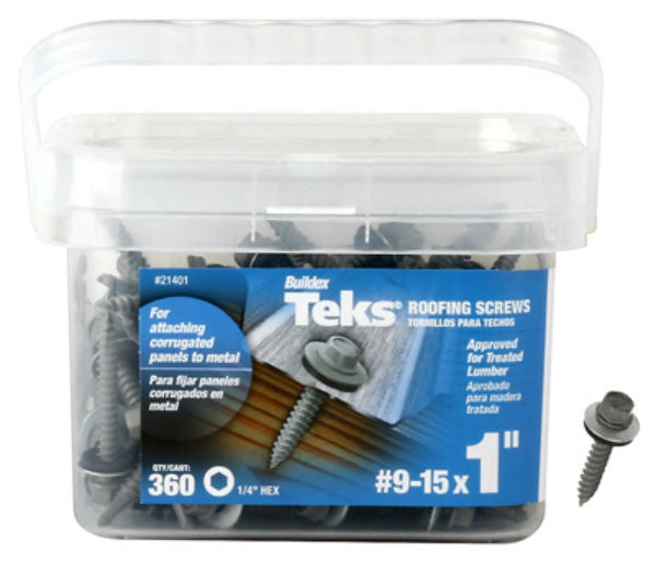 "Teks® 21401 Hex Head Corrugated Panel-To-Metal Roofing Screws, #9-15 x 1"", 360 Pk"
