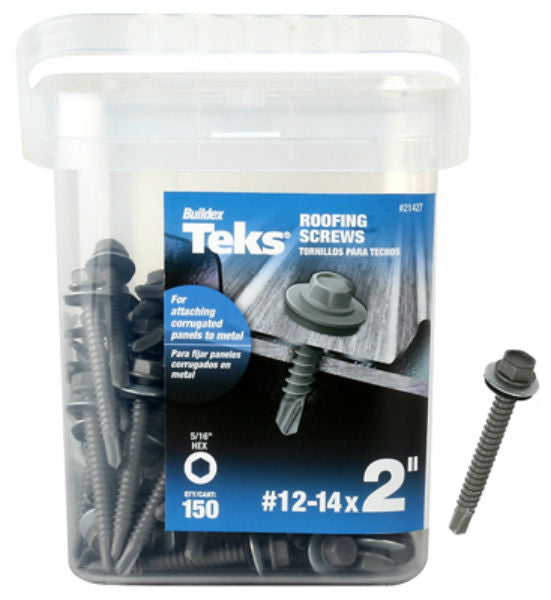 "Teks® 21427 Hex Head Corrugated Panel-To-Metal Roofing Screws, #12-14 x 2"", 150-Pk"