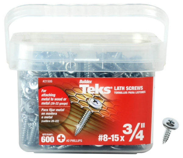 "Teks® 21506 No Pre-Drilling Lath Point Screws, #8-15 x 3/4"", #2 Phillips, 600-Pk"