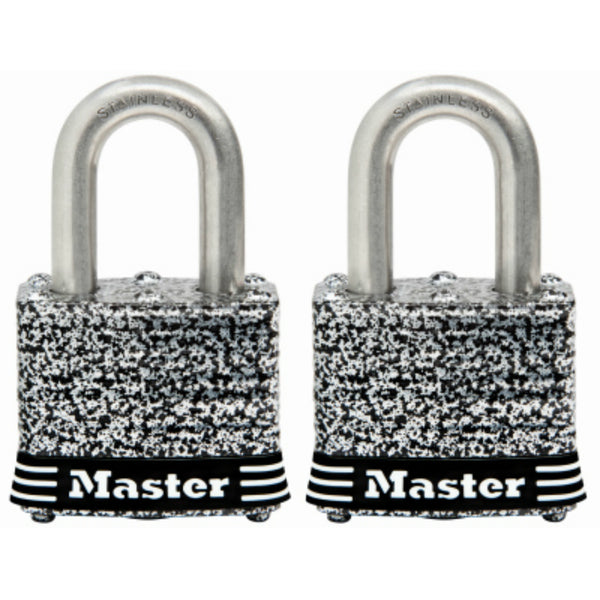 "Master Lock® 3SSTHC Laminated Padlock w/ Stainless Steel Shackle, 1-1/2"", 2 Pack"