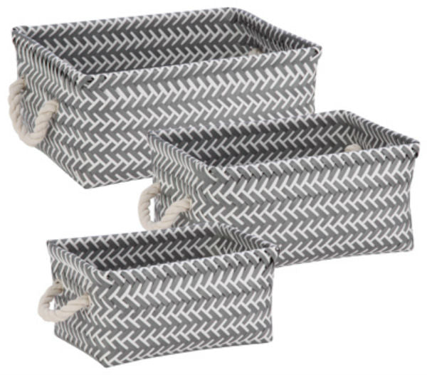Honey-Can-Do STO-06690 Zig Zag Set-of-3 Baskets, Dark Gray