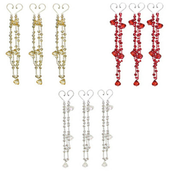 Dyno Seasonal 58545C-5005CC Beaded Chandelier Swag Droplet, Assorted Style, 3-Pk