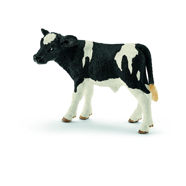 Schleich® 13798 Holstein Calf Toy for Ages 3 & Up, Plastic, Black & White