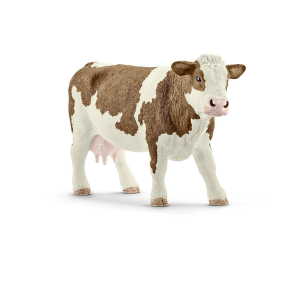 Schleich® 13801 Simmental Cow Toy for Ages 3 & Up, Plastic, Brown & White