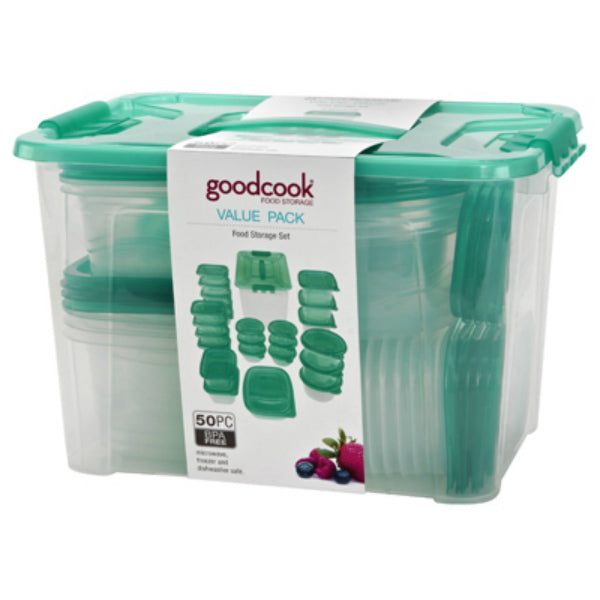 Good Cook® 94871 Plastic Food Storage Container Set, Clear/Teal, 50-Piece