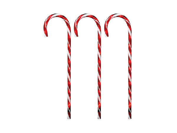 "Holiday Wonderland® 21258-88 Christmas Pathway Candy Cane, Red/Clear, 27"", 3-PC"