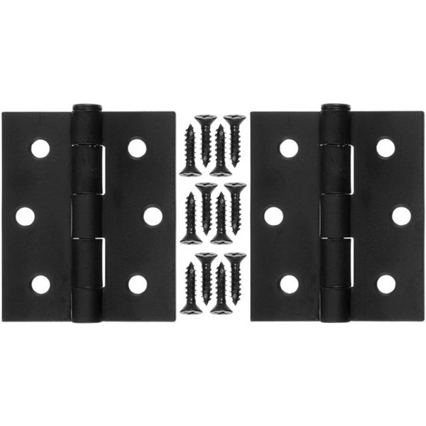 "Wright Products™ V35BL Steel Square Door Hinges, Black, 3"", 2-Pack"