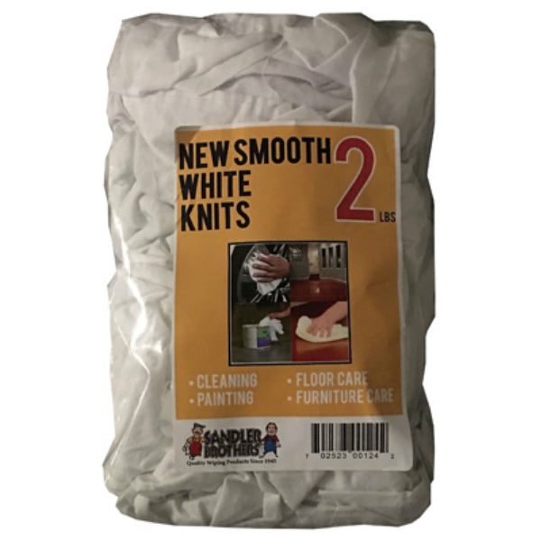 Sandler Brothers 432002 New Smooth Knit Rags, White, 2 Lb