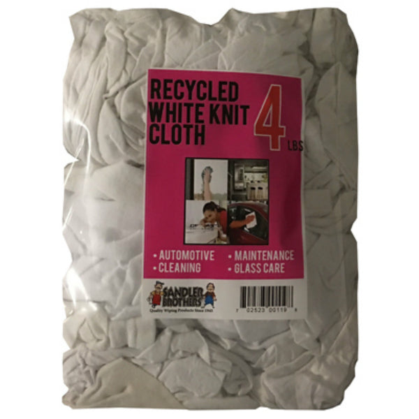 Sandler Brothers 241004 Recycled Knit Cloths, White, 4 Lb