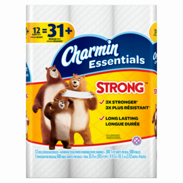 Charmin® 96894 Essentials Strong™ Toilet Paper, 300 Sheet, 12 Giant Rolls