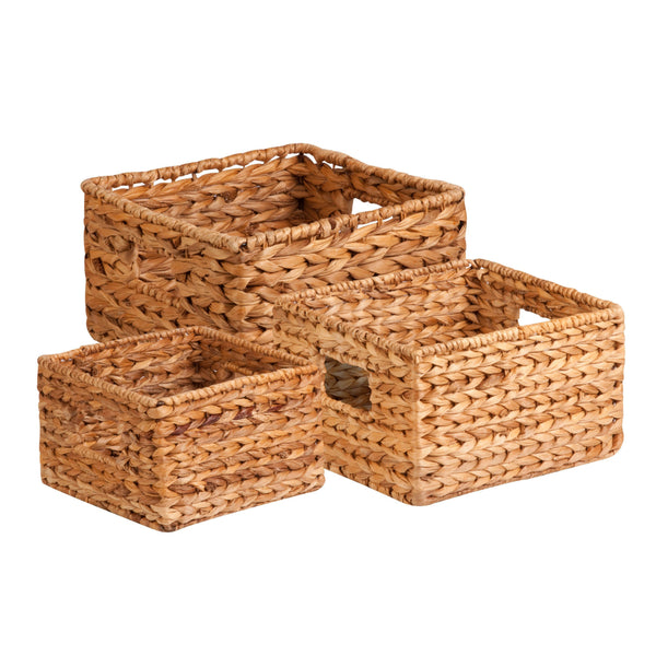 Honey-Can-Do STO-02882 Nesting Water Hyacinth Baskets, Natural Brown, 3-Pack