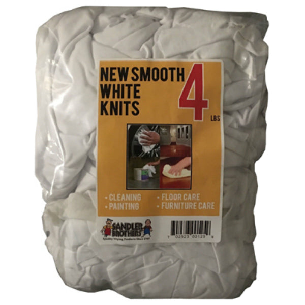 Sandler Brothers 432004 New Smooth Knit Rags, White, 4 Lb