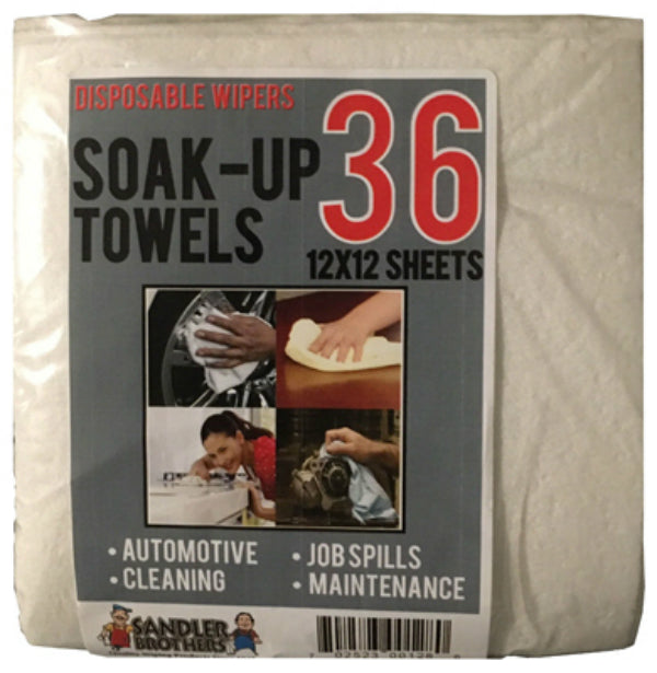 "Sandler Brothers 147036 Soak-Up Heavy Duty Disposable Towels, 12""x12"", 36-Count"