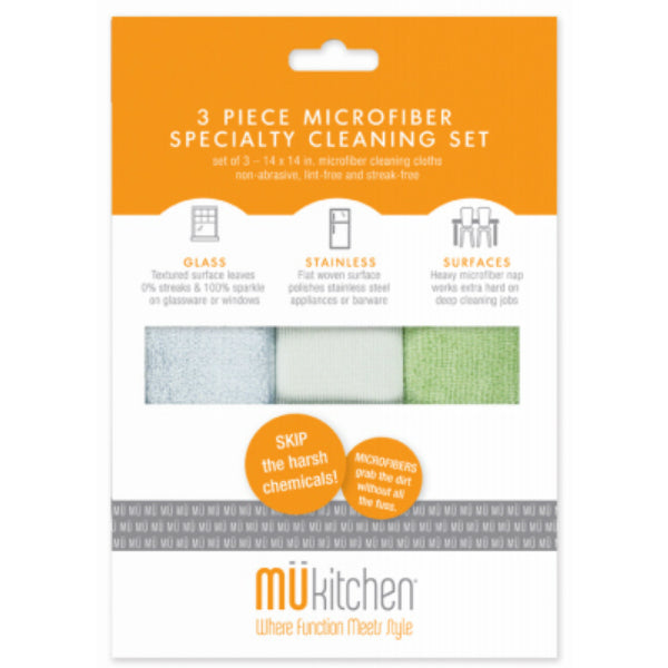 "Mukitchen® 6650-1100 Microfiber Specialty Cleaning Set, 3-Piece, 14"" x 14"""