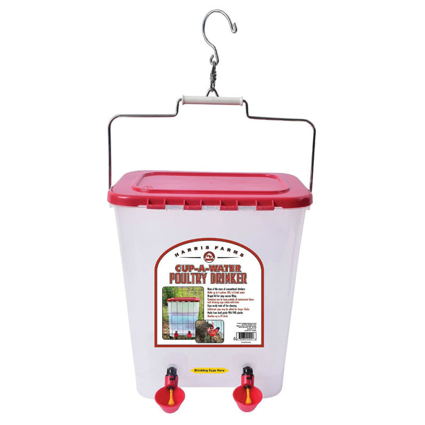 Harris Farms 1000310 Cup-A-Water Poultry Drinker, 4-Gallon
