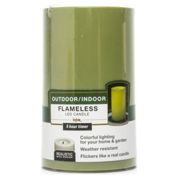 "Inglow® CGT20305KG Flameless Outdoor Candle, Kiwi Green, 3"" x 5"""