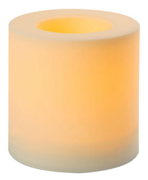 "Inglow® CGT12626WH Flameless Outdoor Candle, White, 6"" x 6"""