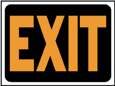 "Hy-Ko 3003 Plastic Exit Sign, 9"" x 12"", Hy-Glo Orange & Black"