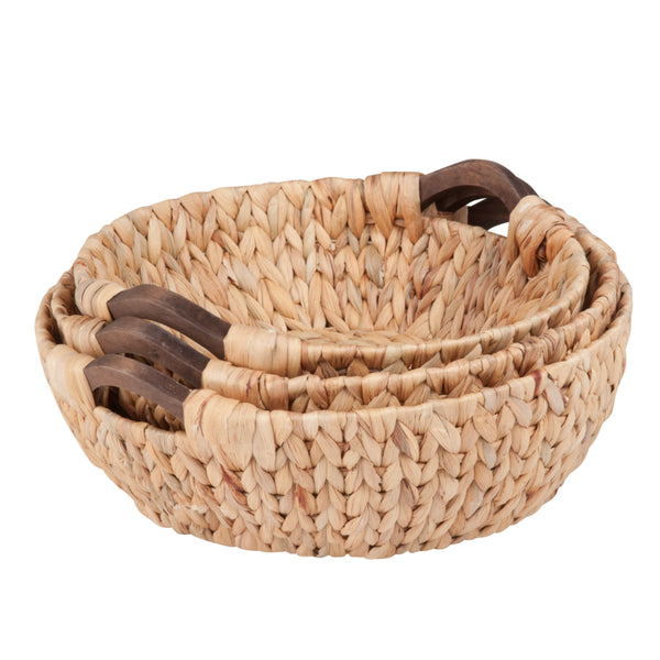 Honey-Can-Do STO-04469 Round Water Hyacinth Baskets, Natural Brown, 3-Piece