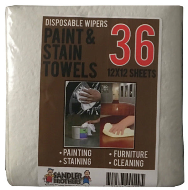 "Sandler Brothers 146036 Paint & Stain Disposable Towels, 12"" x 12"", 36-Count"