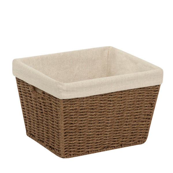"Honey-Can-Do STO-03565 Paper Rope Storage Tote with Liner, Brown, 10""x12""x8"""