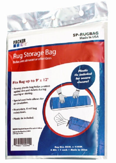 "Packer One™ SP-RUGBAG Poly Rug Storage Bag, Clear, 4 Mil, 26"" x 130"""