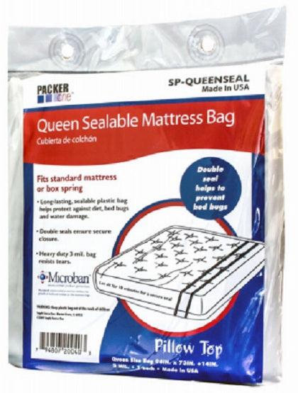 "Packer One™ SP-QUEENSEAL Queen Sealable Microban Mattress Bag, 96"" x 73"" x 14"""